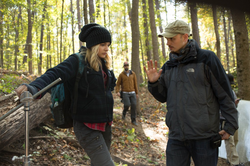 "Chloë Grace Moretz and Director J Blakeson on the set of Columbia Pictures' ""The 5th Wave."""