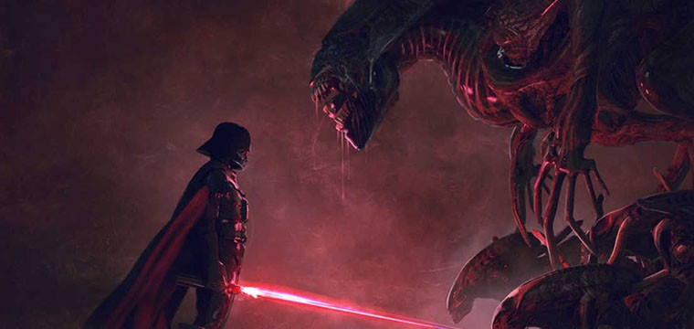Darth Vader vs Xenomorfo Fan Art inspirado en Star Wars y Aliens