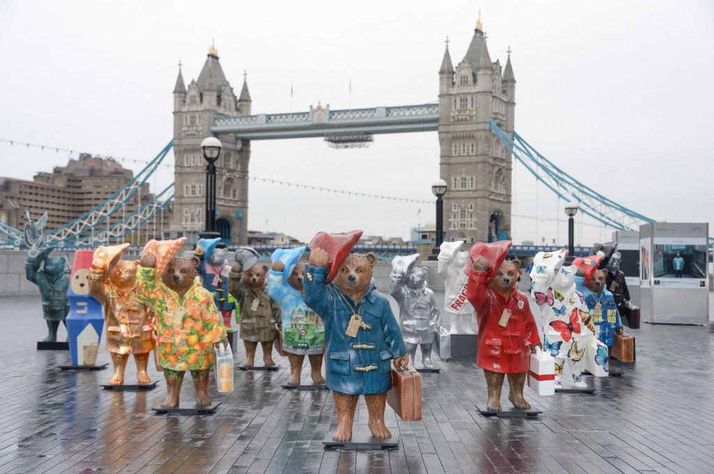 Celebrity designed bears for the NSPCC Paddington Trail are launched at Tower Bridge, London, Britain on 3 Nov 2014
