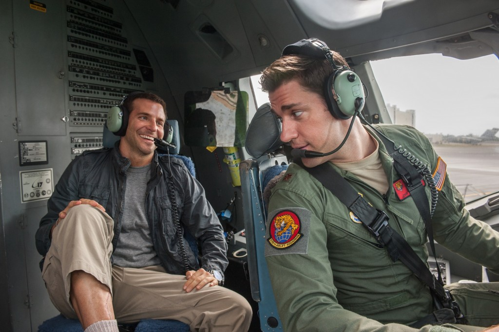 "Bradley Cooper, left, and John Krasinski star in Columbia Pictures' ""Aloha,"" also starring Emma Stone and Rachel McAdams."
