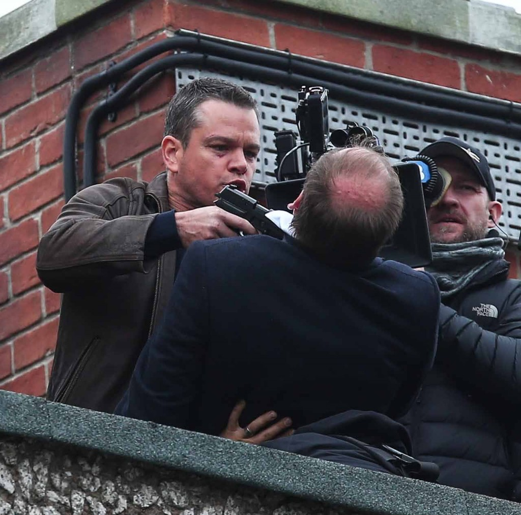 Matt Damon films a scene on a London rooftop for the latest movie in the Bourne franchise Featuring: Matt Damon Where: London, United Kingdom When: 10 Nov 2015 Credit: WENN.com