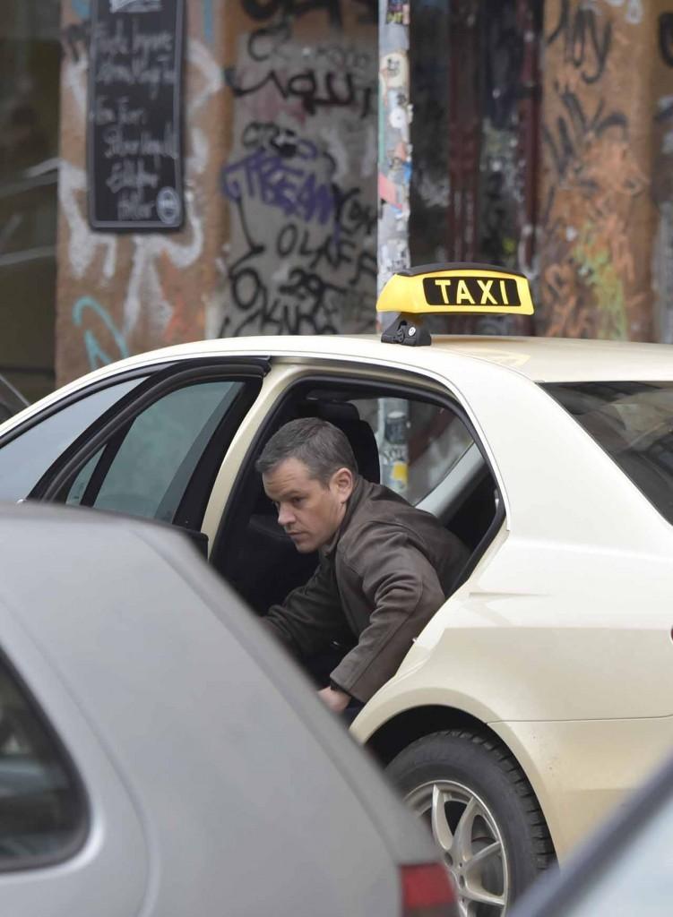 Matt Damon filming the 5th installment of the Bourne series with German action actor Vinzenz Kiefer in Kreuzberg which doubles for Prenzlauer Berg. Featuring: Matt Damon Where: Berlin, Germany When: 25 Nov 2015 Credit: WENN.com