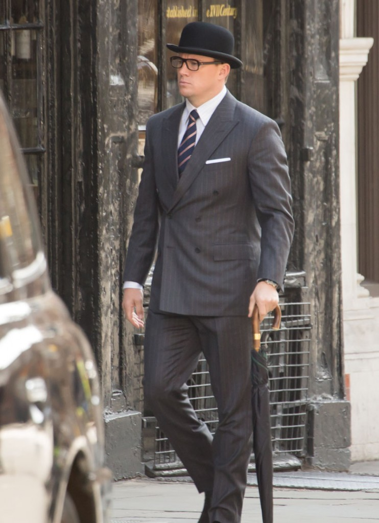 Channing Tatum films scenes for 'Kingsman: The Golden Circle' in London, England