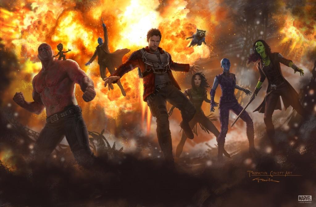 Drax, baby Groot, Yondu, Star-Lord, Mantis, Rocket, Nebula y Gamora.