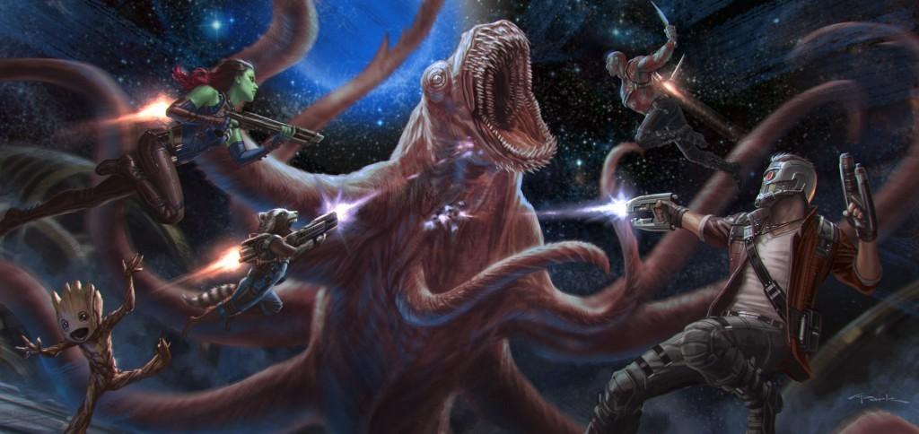 Drax, baby Groot, Star-Lord,Rocket y Gamora en acción